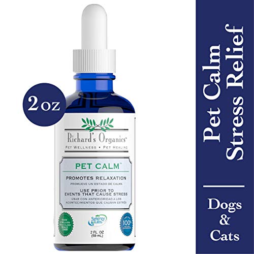 Richard's Organics Pet Calm - Naturally Relieves Stress and Anxiety in Dogs and Cats - 100% Natural, Drug-Free, Settles Nerves and Reduces Hyperactivity (2 oz. Bottle with Dropper)