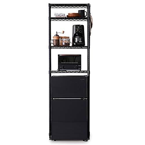 アイリスオーヤマ レンジ台 冷蔵庫ラック 幅55×奥行35×高さ180cm ハイタイプ 耐荷重100kg キッチンラック ゴミ箱上ラック 組立品 スチール製 CMM-PRH5518 ブラック