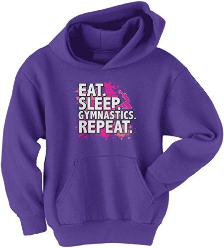 Threadrock Big Girls' Eat Sleep Gymnastics Repeat Youth Hoodie Sweatshirt M Purple
