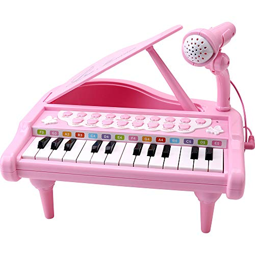 Amy&Benton Toddler Piano Toy Keyboard Pink for Girls Birthday Gift 1 2 3 4 Years Old Kids 24 Keys Multifunctional Toy Piano
