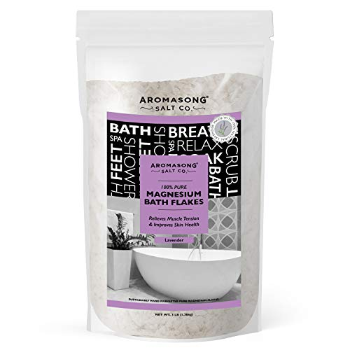 Aromasong RAW Magnesium Bath Flakes with 100% Natural Lavender, 3 LB Muscle Relaxing Organic Salts Mg Chloride, Mineral Soak for Restless Leg Syndrome, Cramps, Stress Relief, Headaches, Joint Pain.