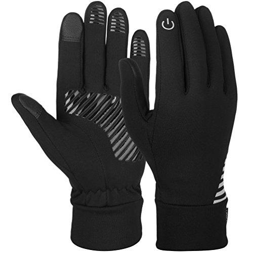 Vbiger Herren Handschuhe Touchscreen Handschuhe SMS Handschuhe Laufenhandschuhe Sport Handschuhe für Winter, Schwarz-1, L