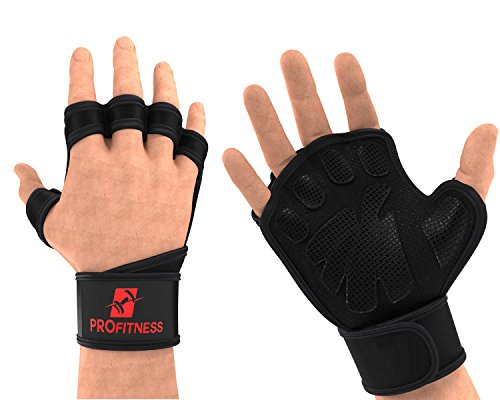 ProFitness Weight Lifting Ventilated Gloves Cross Training Gloves (Medium, Black/Red)