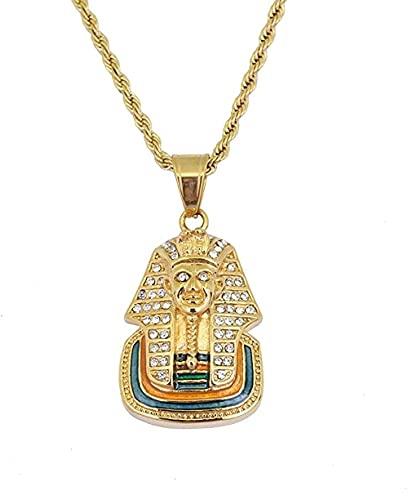 BAIYAN Hiphop Collar, Joyería Hip-Hop Egipcio Faraón Colgante Cadena de Acero Inoxidable Rhinestone Collar de Cristal para Hombres Mujeres