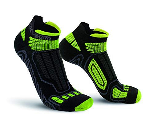 Oxyburn Running Low-Cut Dry-Tech Carbon XL Chaussettes Homme, Noir/Vert, Size 45/47
