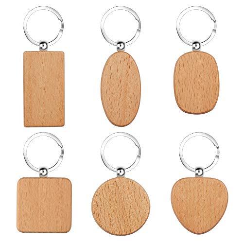 Holz Schlüsselanhänger 12 Stücke DIY Blanko Schlüsselanhänger Personalisierter Holz Schlüsselbund, 6 Verschiedene Formen