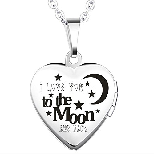 IXIQI Jewelry Engraved ' I Love You to the Moon and Back ' Titanium Heart Infinity Love Locket Necklace Necklaces Gifts Present for Women Photo,50cm Chain