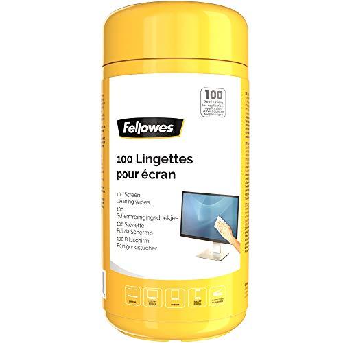 Fellowes Bildschirm-Reinigungstücher 100 Stück, vorgetränkte Tücher für Monitore, Tablets, Smartphones, Scanner, Laptops, alkoholfrei, wiederverschließbare Dose