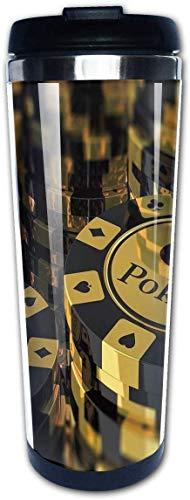 Pokers Toernooi Goud Zwart Poker Chips Koffie Bekers Roestvrij Staal Water Fles Cup Reisbeker Koffie Tumbler voor Vrouwen/Mannen/Kinderen/Tieners/Volwassenen Thuis Outdoor