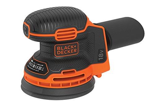 Black+Decker BDCROS18N Akku-Exzenterschleifer / Schleifmaschine (18V, mit Staubfangbehälter, zum Schleifen/Polieren, ergonomische Multi-Positionsgriffflächen, Lieferung ohne Akku und Ladegerät)