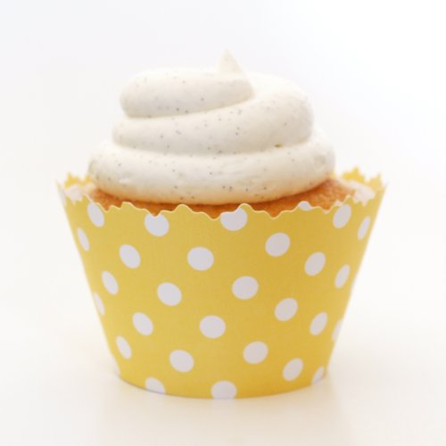 Lemon Yellow Polka Dot ADJUSTABLE Cupcake Wrapper - Set of 12 - Perfect Cup Cake Item for Summer or Spring