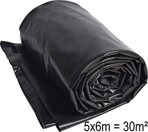 TEICHWERKplan Teichfolie PVC 6 x 5 m schwarz 0,5mm Teich Folie 30 m² Gartenteichfolie Gartenteich Koiteich Bachlauf Plane Pond