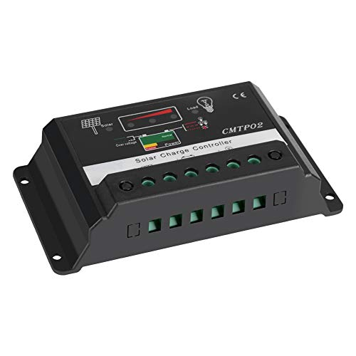Atyhao Controlador de Carga Solar 30A, regulador Inteligente de batería de Panel Solar Controlador de Carga de Seguridad portátil con Pantalla de Puerto USB 12V/24V