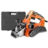 AXH Cepilladora Manual Eléctrica, Cepilladora Eléctrica 1800w, Profundidad Corte Ajustable, Polvo Bidireccional, Muy Adecuada Cepillar Carpintería