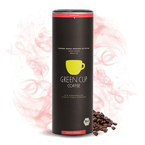 Green Cup Coffee Nossa Senhora - fair gehandelter Bio Arabica Espresso Kaffee - mittelstarker brasilianischer Fairtrade Gourmet Espresso aus ganzen Bohnen - 454g Dose ganze Bohne