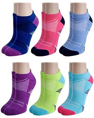'Avia Women\'s Performance Half Cushion Mesh Vent No Show Socks (6 Pack), Blue Assorted, Shoe Size: 4-10'