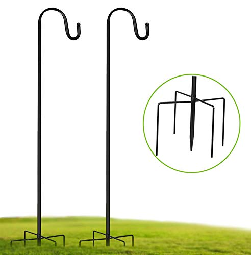 2 Pack Shepherd Hook 48 Inch, 1/2 Inch Thick Heavy Duty Rust Resistant Shepards Hooks Outdoor Hangers for Hanging Plants, Solar Lights, Bird Feeders, Christmas Wreath and Christmas Decorations