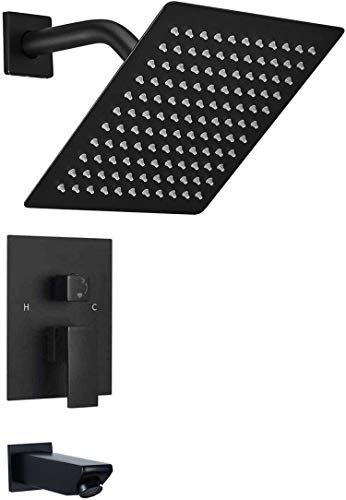 Black Shower System YBlucklly Shower Set with Tub Spout Bathroom Luxury 8 Inch Square Shower Head Rain Shower Faucet Wall Mounted Single Function Mixer Shower Trim Kit with Rough-in Valve