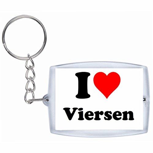 Druckerlebnis24 Schlüsselanhänger I Love Viersen in Weiss - Exclusiver Geschenktipp zu Weihnachten Jahrestag Geburtstag Lieblingsmensch