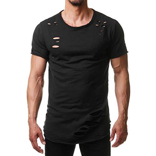 Zarupeng T-shirt met ronde hals voor de zomer, casual gat met korte mouwen, eenkleurig, dun sporthemd, basic shirt