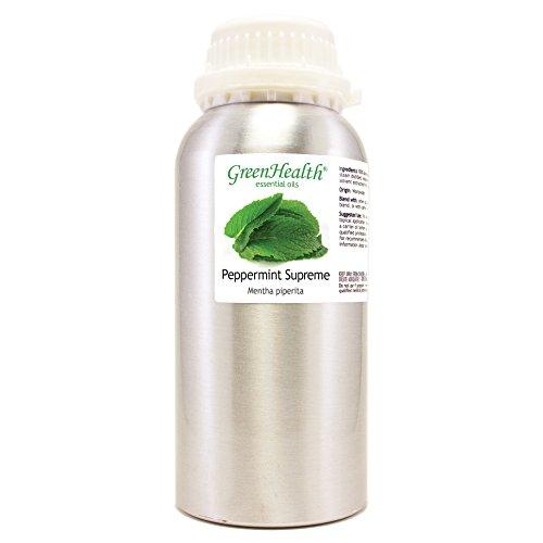 GreenHealth Peppermint Supreme – 16 fl oz (473 ml) Aluminum Bottle w/Plug Cap – 100% Pure Essential Oil