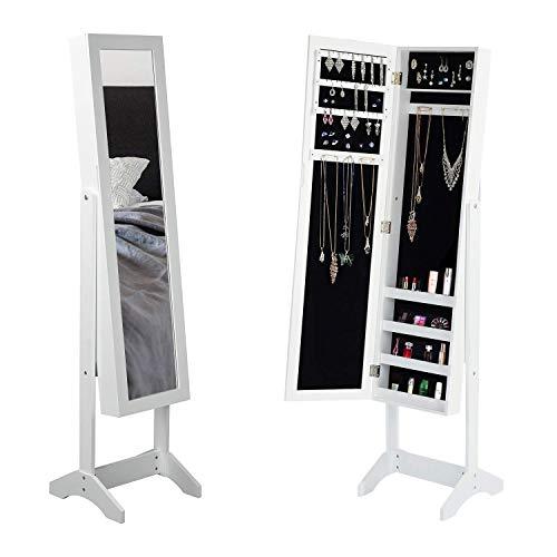 FurnitureR Armario de gabinete de joyería de espejo de cuerpo completo con espejo de borde biselado, magnífico gabinete de organizador de joyería de gran capacidad, ajustable en 3 ángulos, pintado de blan