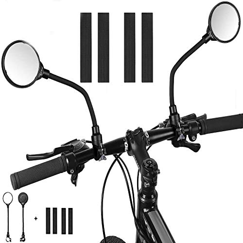 Mordely Bike Mirror, 2pcs Adjustable Handlebar Rear View Mirrors with Wide Angle Acrylic Convex Safety Mirror for Mountain Road Bike Bicycle Electric Motorcycle