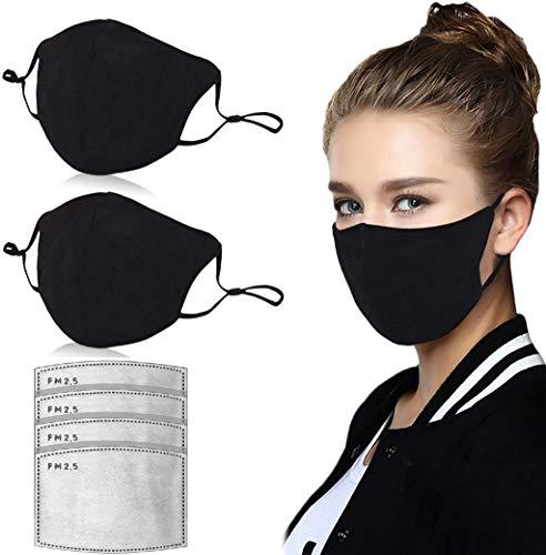 2 piezas de algodón 𝓜á𝓢𝓬𝓪𝓡𝓪 antipolvo transpirable con 4 piezas de filtro de carbón activado tela para la cara unisex, reutilizable, color negro, protección sin costuras, cubierta 3D (Negro)