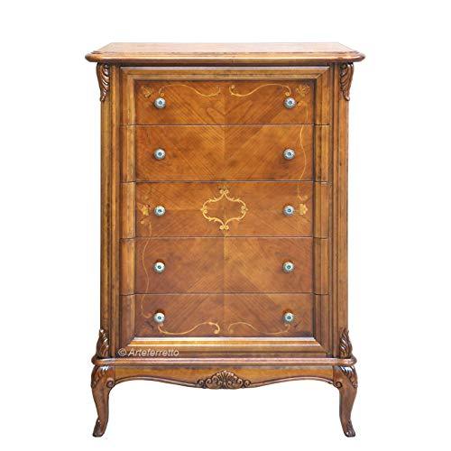 Artigiani Veneti Riuniti Möbel mit 5 Schubladen mit Füßen und Intarsien, Klassische Kommode aus Holz für Wohnzimmer, Stilmöbel 5 Schubladen mit 2 Knöpfen. Design italienisch klassisch.