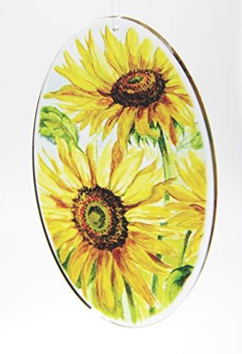 Acrylglas Fensterbild Sonnenblume oval 12x20cm