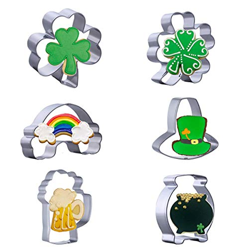 6 Pcs Shamrock St.Patrick's Day Cookie Cutter Set Irish Party Supplies - Shamrock, Four leaf clover, Leprechaun, Beer mug, Pot of Gold and Rainbow Cookie Cutters