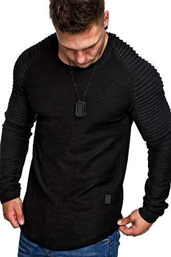 Amaci&Sons Oversize Vintage Herren Pullover Biker-Style Hoodie Sweatshirt Crew-Neck 6069 Schwarz S