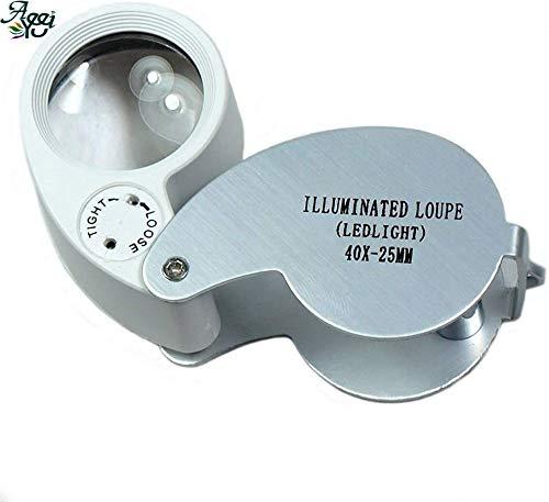 aeeyui lente para joyas lupa D 40x, bolsillo y plegable, con luz de LED, utilizar para joyería, gemmologia, Diamantes, numismatica, Filatelia