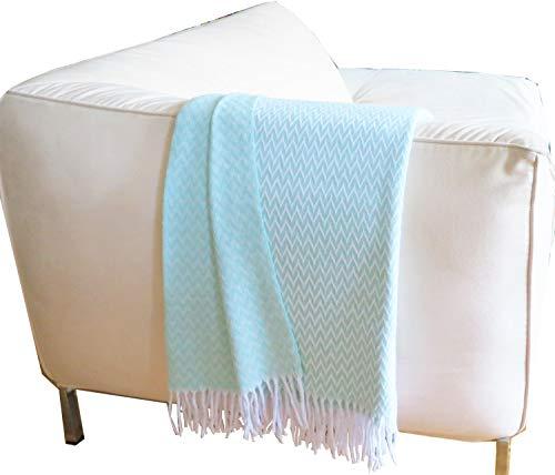 Zickzack - Manta de algodón con flecos, 140 x 200 cm, manta de algodón, manta para el salón, colcha para el sofá (Mint zz)