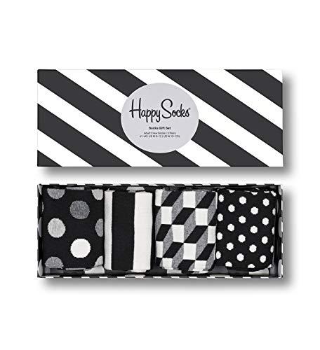 Happy Socks farbenfrohe und verspielte Classic Black & White Socks Gift Box 4-Pack Geschenkboxen für Männer und Frauen, Premium-Baumwollsocken, 4 Paare, Größe 41-46.
