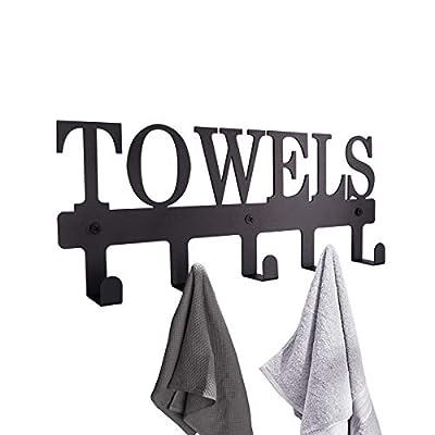 MINCORD Towel Racks 5 Hooks Black Metal Wall Mount Rustproof and Waterproof Towel Holder for Bathroom Towels-Robes, Bedroom Clothing, Kitchen Storage Organizer Rack