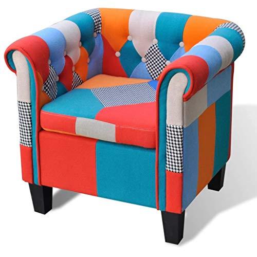 vidaXL Fauteuil avec Design de Patchwork Tissu Siège Meuble Salon Chambre