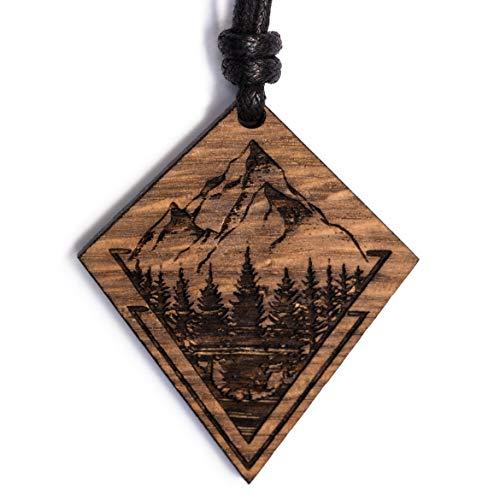 treeforce Berge Natur Halskette, Schlüsselanhänger oder Auto- Anhänger 3in1 DIY Schmuck aus Kupfereiche