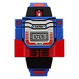 子供用 ロボット型デジタル腕時計 SKMEI 変身トランスフォーマー型 日本語説明書付 孫プレゼント
