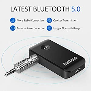 Bluetooth V5.0 aux Adapter, Boltune Audio Receiver Car Kit, for Home Hi-fi System, Portable Wireless Audio Adapter 3.5mm Aux for Music, Speaker, Headphones, Hands-Free Car Kit with Microphone