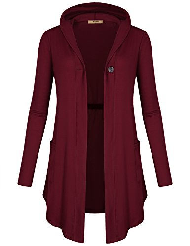 Miusey Tunic Cardigan Sweaters for Women, Ladies One-Button Loose Fitting Rouched Solid Pattern Stretch Pocket Patch Hanky Hem Hooded Sweatshirt Wine M