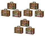 Beistle Luggage Favor Boxes 9 Piece Suitcase, World Traveler Decor, Party Supplies, 4' x 5.5', Brown