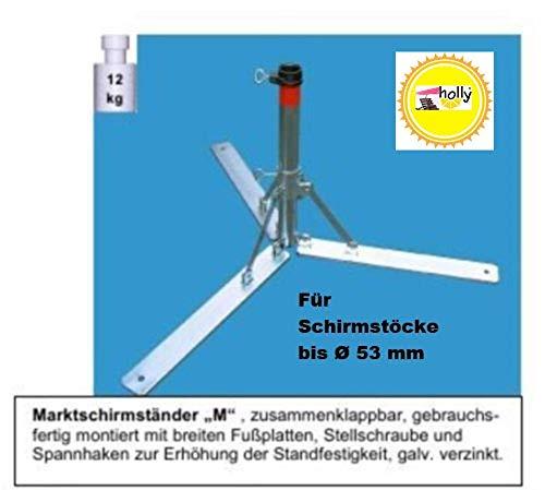 Pied de parasol en acier 4 mm Ø deutschem – – Parapluie – Support en métal – Le Stabielo® – pliable pour parasol jusqu'à Ø 53 mm – Pied de parasol de soleil – Porte-parapluie – Fabriqué en Allemagne – M 53 – Plaques avec pied Large Holly produits Stabielo® – Innovations fabriqué en Allemagne – Holly Sunshade® – Prix de – Produits fabriqué en Bade Wurtemberg de