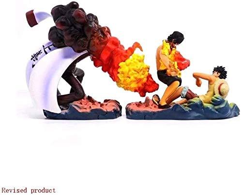 ワンピースフィギュアモンキー・D・ルフィ&エースアクションフィギュア[ポートガス・D・エースの死] - アニメモデル巨大サイズ6.2インチ