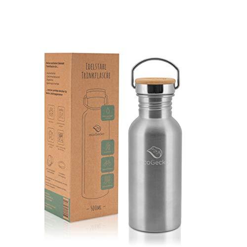 ecoGecko Botella de acero inoxidable prémium de 500 ml, antigoteo (adecuada para ácido carbónico), incluye tapa de bambú, para niños y adultos, ideal para exteriores, escuela y deporte