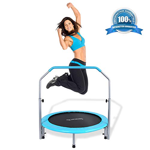 "SereneLife Portable & Foldable Trampoline - 40"" in-Home Mini Rebounder with Adjustable Handrail, Fitness Body Exercise, Springfree Safe for Kids - SLELT403"