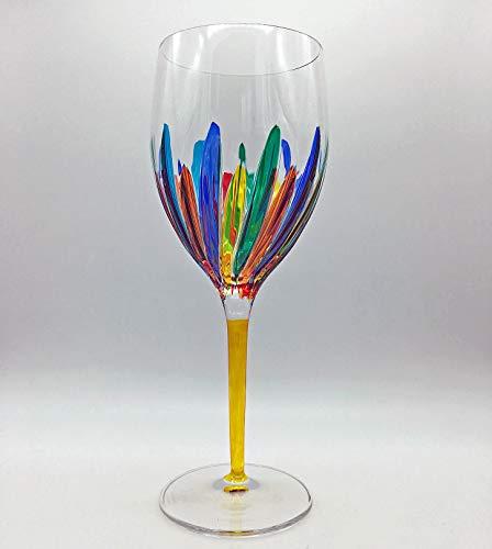 「RAVENNA」特大ワイングラス - 黄色のステム - ハンドペイントのベネチアンガラス。