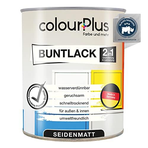 colourPlus®️ 2in1 Buntlack (750ml, RAL 9005 Tiefschwarz) seidenmatter Acryllack - Lack für Kinderspielzeug - Farbe für Holz - Holzfarbe Innen - Made in Germany