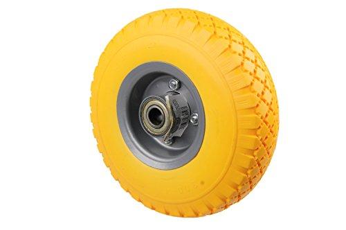 HRB PU Rad 260 mm - Pannensicher je 130 kg Traglast, Metallfelge (Gelb, 1 Stück)