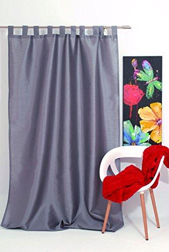 Mendola Home Textiles Tenda a Occhielli, Grigio, 140 x 245 cm